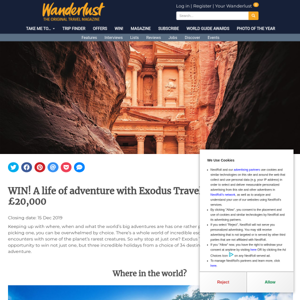 Win A Life Of Adventure With Exodus Travels, Worth Up To £20,000