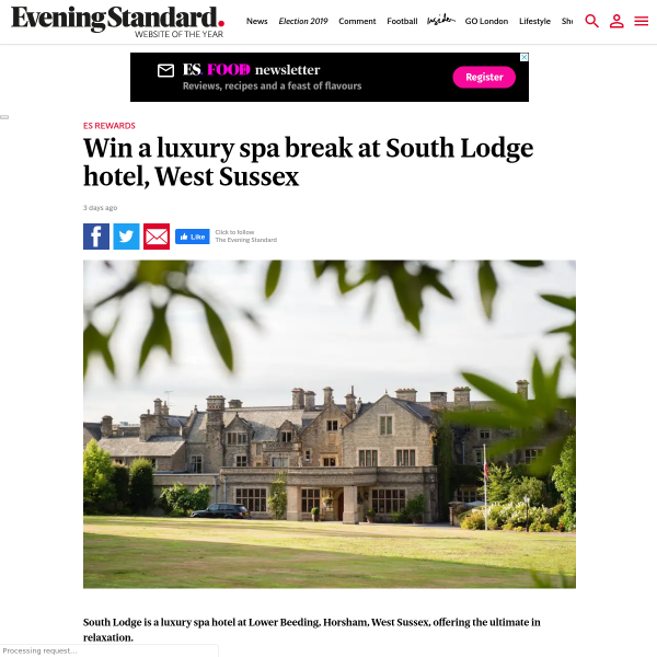 Win a luxury spa break at South Lodge hotel, West Sussex