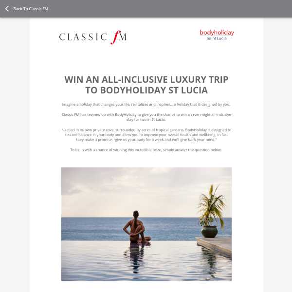 Win a luxury trip to Bodyholiday, St Lucia