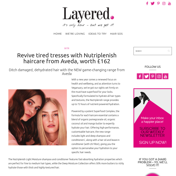 Win Nutriplenish haircare from Aveda